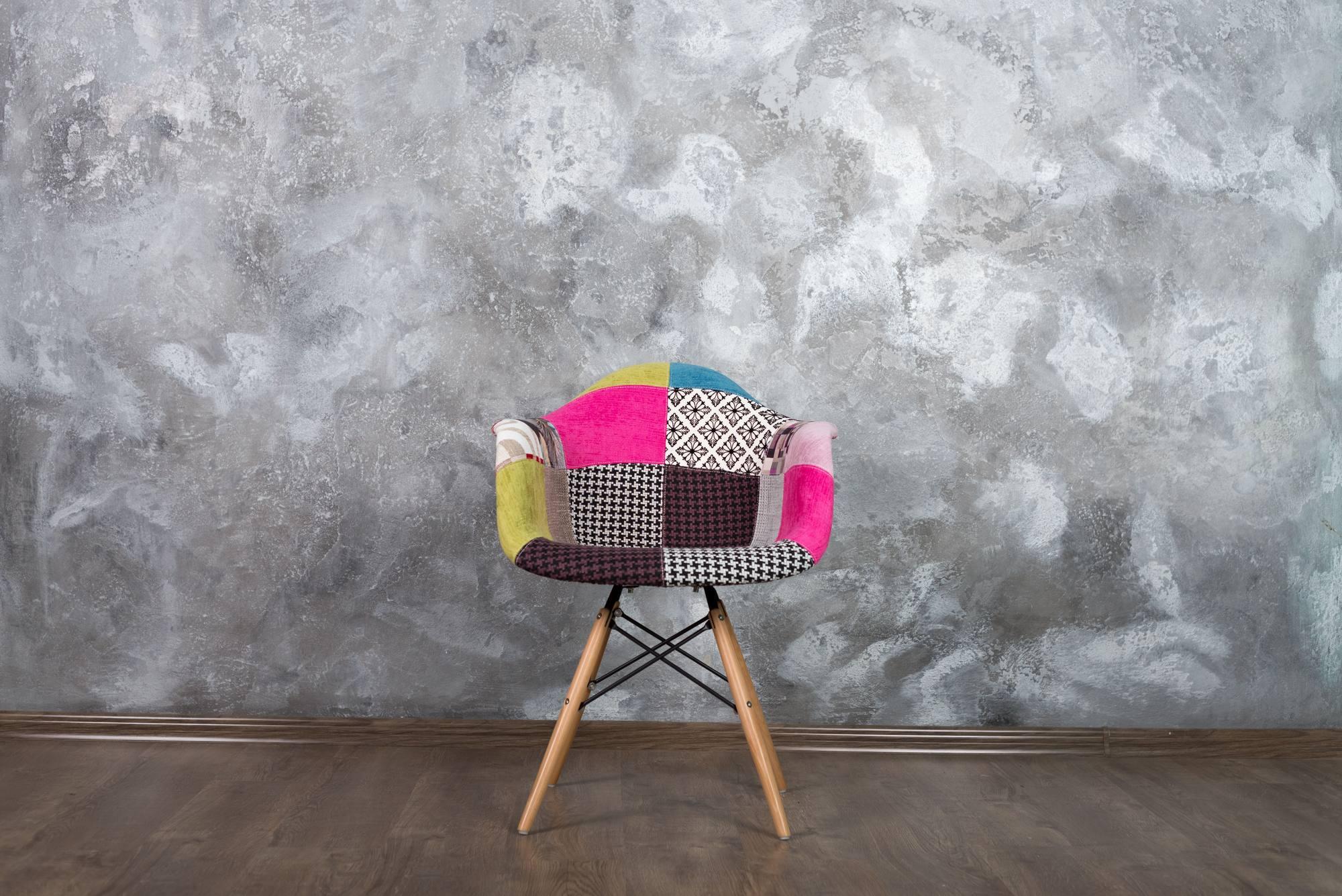 Кресло печворк в серой локации